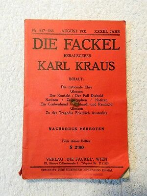 Karl Kraus - Die Fackel - Nr. 857-863 - August 1931