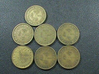 HONG KONG  LOT  ,  10 Cents   1949  1950  1959  1961  1965 KN  1974   &   1975
