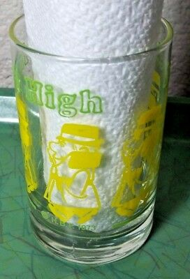 1973 Small Green and Yellow   Inch High Private Eye Promo Glass Hanna Barbera