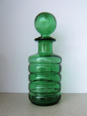 Vintage Green Glass Decanter - Globe Stopper - Made in Italy - Holds 24 oz.