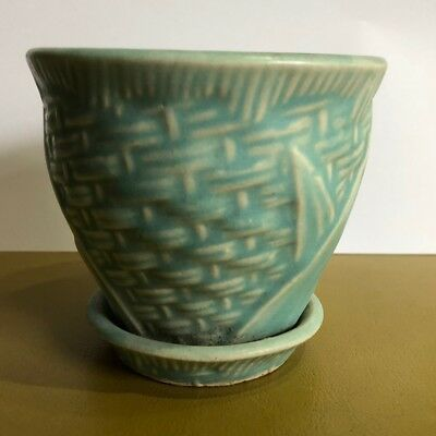 VINTAGE MCCOY NM LEAVES & BASKET WEAVE Aqua Blue Green PLANTER with SAUCER
