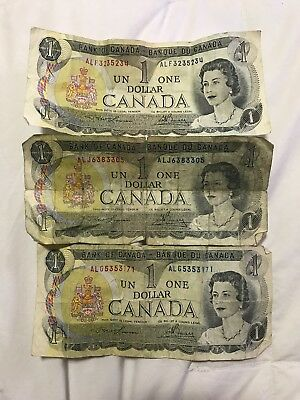 Canada 1973 Three $1 Dollar Bill - Canadian Banknote Currency - Circulated