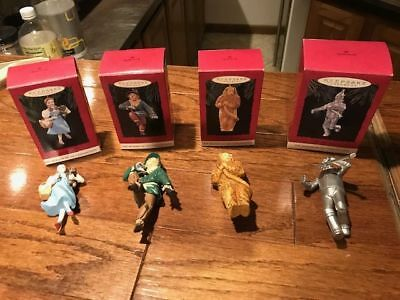 4 Hallmark Keepsake Wizard of Oz Ornaments Dorothy Scarecrow Tinman Lion 1994