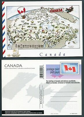UX145 PCF Postcard C079, Indicia Die 5, 200016, Map of Canada