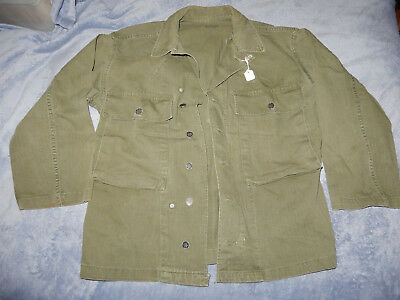 Original Wwii Us Army Herringbone Twill Hbt Shirt, 13 Star Buttons Size 38