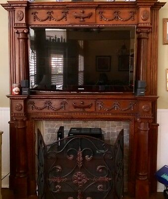 Antique Victorian Style Double Fireplace Mantel