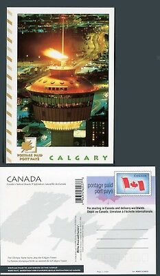 UX145 PCF Postcard CY035V, Indicia Die 5, 200037, Olympic Flame, Calgary