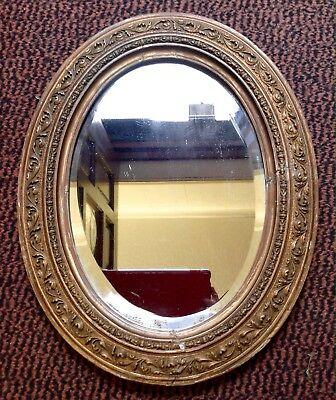 Antique Early Victorian Oval Gilded Frame Mirror, Plaster Moulded Over Wood.