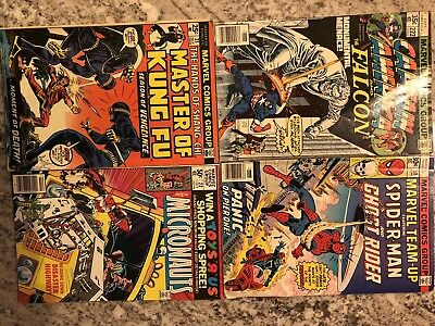 Marvel Lot Of 4 Bronze Age Captain America Spider Man Master Kung Fu Ghost Rider