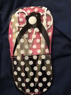 54c3a140f1b5f PINK MANICURE KIT Polka Dot Bag Nail File Scissors Tweezers Clippers ...