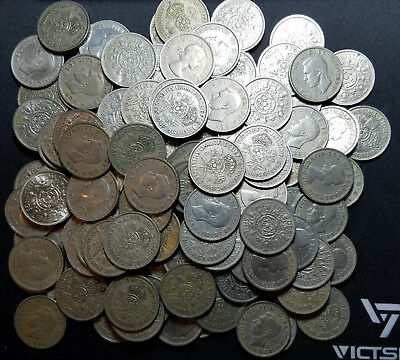 Huge Lot Of 146 Great Britain 2 Shillings / 1 Florin Coins!