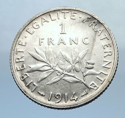 1914 FRANCE Antique Silver 1 Franc French Coin w La Semeuse Sower Woman i69903