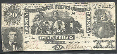 1861 20 Dollar Note Confederate Currency T-61 Cut Cancelled VF-XF