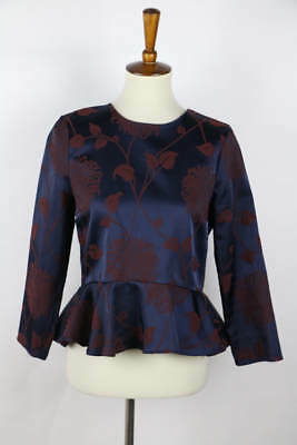 ba3acfd13b188 Zara Woman Navy Blue Embroidered Long Sleeve Fared Waist Blouse Size M