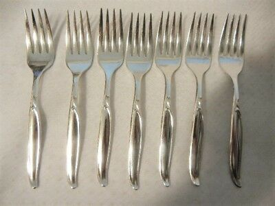Replacements 1847 Rogers Flair Salad Forks X Seven (7) Silver Plate