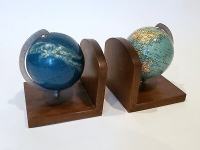 Mid Century Modern Globe Bookends, Columbus, Celestial and Terrestrial