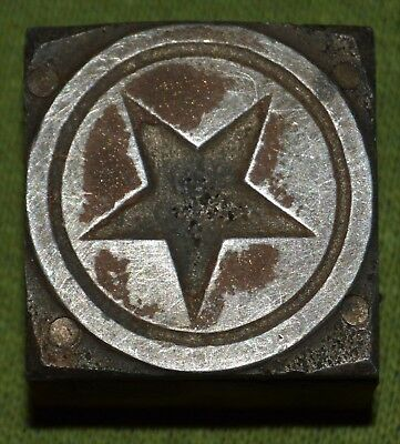 Antique Printing Press Printers Letterpress Wood Metal Block Star in Circle
