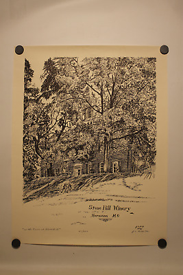 """1991 Artist J.d. King """"on The Lawn At Stone Hill"""" Stone Hill Winery Signed Ink"""