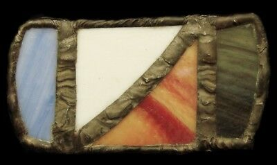 Kj20105 Great Vintage Dated 1977 **stained Glass** Handmade  Art Belt Buckle