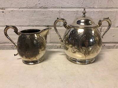 "Vintage Sheffield Silver plate""Lilly of Valley"" Sugar Bowl and Creamer"