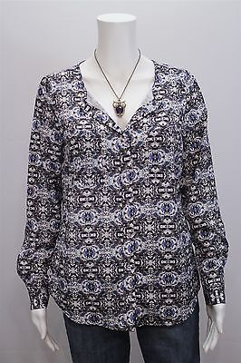 Attention Misses SMALL Gray Purple Blue Geo Print LS Button Front Shirt Top