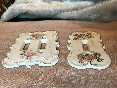 Lot Of 2 Vintage Switch Plate Covers Porcelain? Estate Sale Find Flowers