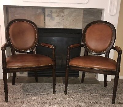 Baker Milling Road Dining Chairs Leather Brass Nailhead Mahogany Louis XVI Style