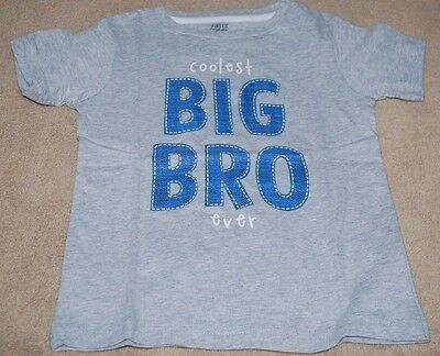 Boys Size 18 Months BIG BROTHER T-Shirt NWT  Gray Short Sleeves