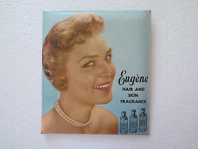 ORIGINAL EUGENE HAIR & SKIN COSMETICS ADVERTISING PLASTIC COATED TIN SIGN c1950s