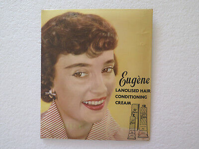 ORIGINAL EUGENE HAIR COSMETICS ADVERTISING PLASTIC COATED TIN SIGN 1950s to 1960