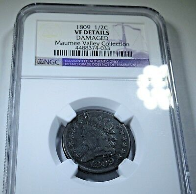 NGC 1809 US 1/2 Half Cent Maumee Valley Collection Hay Penny Antique Copper Coin