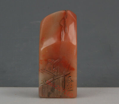 Chinese Exquisite Hand-carved people carving Shoushan Stone seal