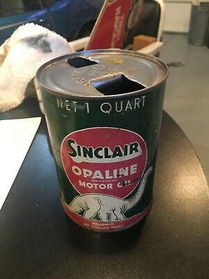 Early Sinclair Opaline Motor Oil 1 Quart Metal Oil Can With White Dinosaur