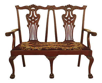 F46196EC: Vintage 1900 s Chippendale Mahogany Needlepoint Settee