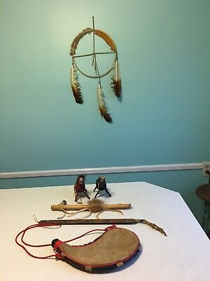 6 Native American, peace pipe, dream catcher, bota bag, kachina horses, etc COOL