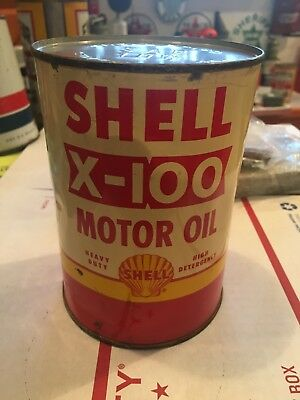 Shell X-100 1 Quart Oil Can this is a Full can Great Condition