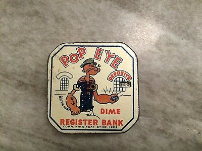 1929 Tin Lithographed Popeye Dime Register Bank!