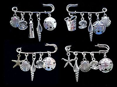 SEA SHELLS Platinum BROOCH PINS Silver Charms Sand Dollar Starfish Scallop Whelk