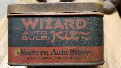 """Western Auto/ Wizard Auto Bulb Vintage Tin! Original Patina """"not Cleaned"""""""
