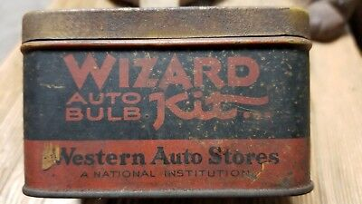 """Wizard Auto Bulb Vintage Tin! Original Patina """"not Cleaned"""" Western Auto!!"""