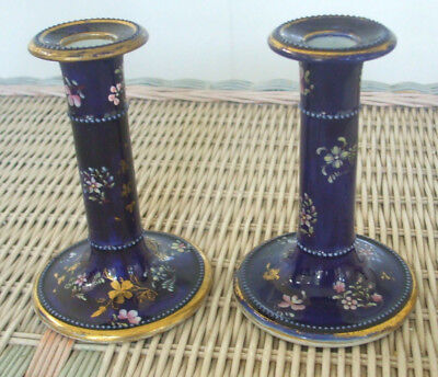 """Pair of Cobalt and Gold Decorated Masons Patent 5-1/4"""" Ironstone Candlesticks"""