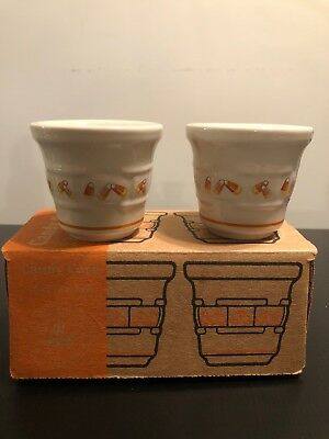 Longaberger Pottery Halloween CANDY CORN Votive Cups Candle Holder Set 2 In Box