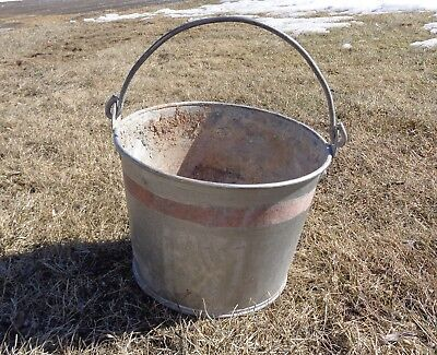 Galvanized Bucket Pail Metal Vintage Shabby Primitive Rusty Planter Pot Farm 10""