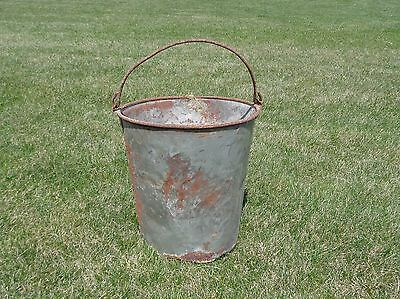 Galvanized Bucket Pail Metal Vintage Shabby Primitive Rusty Planter Pot Farm 11""