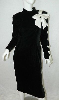 Tally's Boutique Dress Black Plush Velvet White Satin Lace Up Vintage Size Large