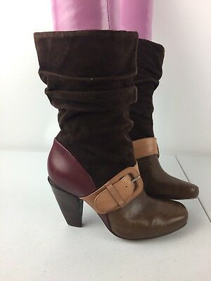 Fossil Womens Sz 7 Brown and Maroon Suede Leather Slouchy Ankle Buckle Boots
