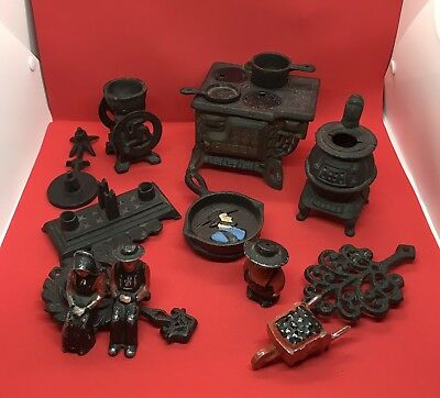 Lot of 15 pcs Antique Queen Cast Iron Wood Burning Stove Toy or Salesman Sample.
