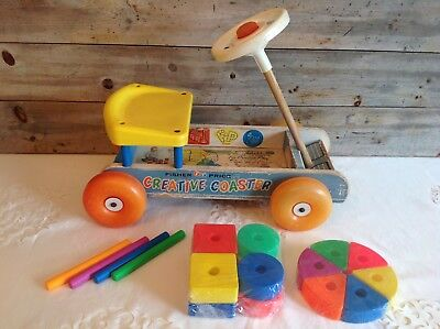 Vtg Fisher Price 1964 #987 Creative Coaster Riding Wagon W/ 14 blocks & 4 dowels