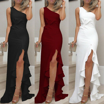 Womens One Shoulder Ruffles Long Evening Dresses Slit Cocktail Formal Prom Dress