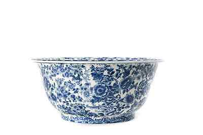 "Large Blue White Wash Bowl Floral  Motif Chinese Ming Dynasty 14.5"" Circa 17 C"